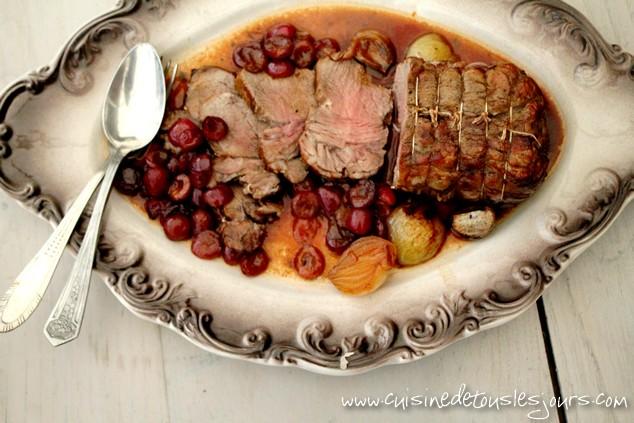 Rôti de veau aux cerises - Cuisine de tous les jours
