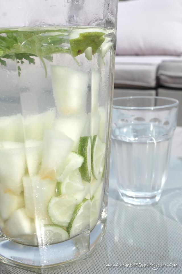 Detox water melon, geranium et citron vert