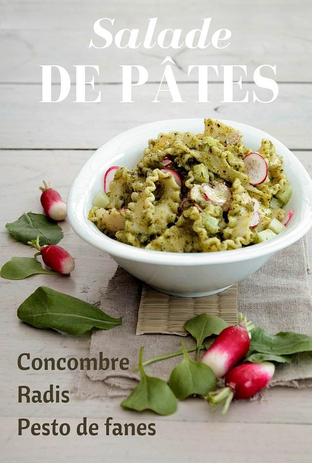 Salade de pâtes au concombre, radis et pesto de fanes - © www.cuisinedetouslesjours.com