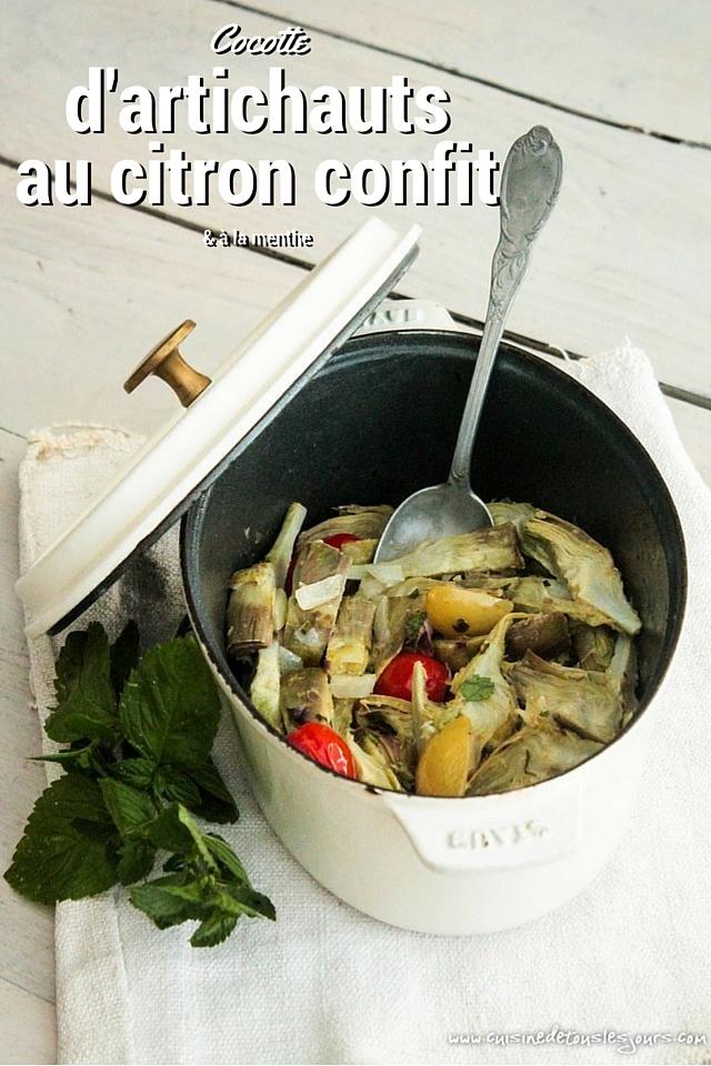 Cocotte d'artichauts au citron confit & à la menthe -©www.cuisinedetouslesjours.com