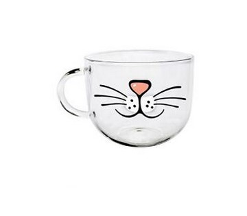 Cartoon tasse en verre haute température résistant transparent l'eau tasse en verre Motif chat