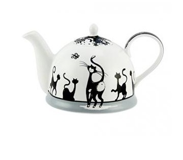 Théière avec couvercle chat-noir/blanc - 1,2 l
