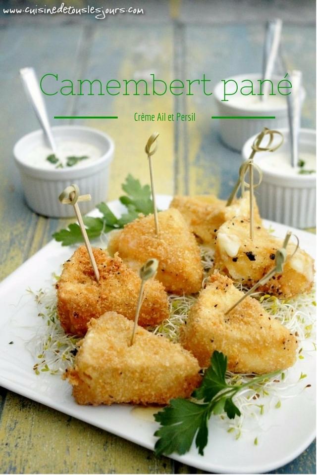 ©www.cuisinedetouslesjours.com - Camembert pané, crème ail et persil