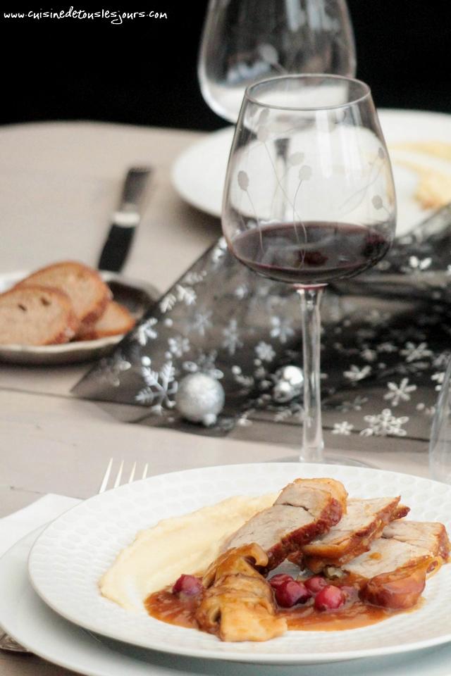 Rôti de veau aux canneberges et cèpes, purée de céleri au miel pour Cuisine Gourmande Hors série n°1 2016, spécial fêtes – ©www.cuisinedetouslesjours.com