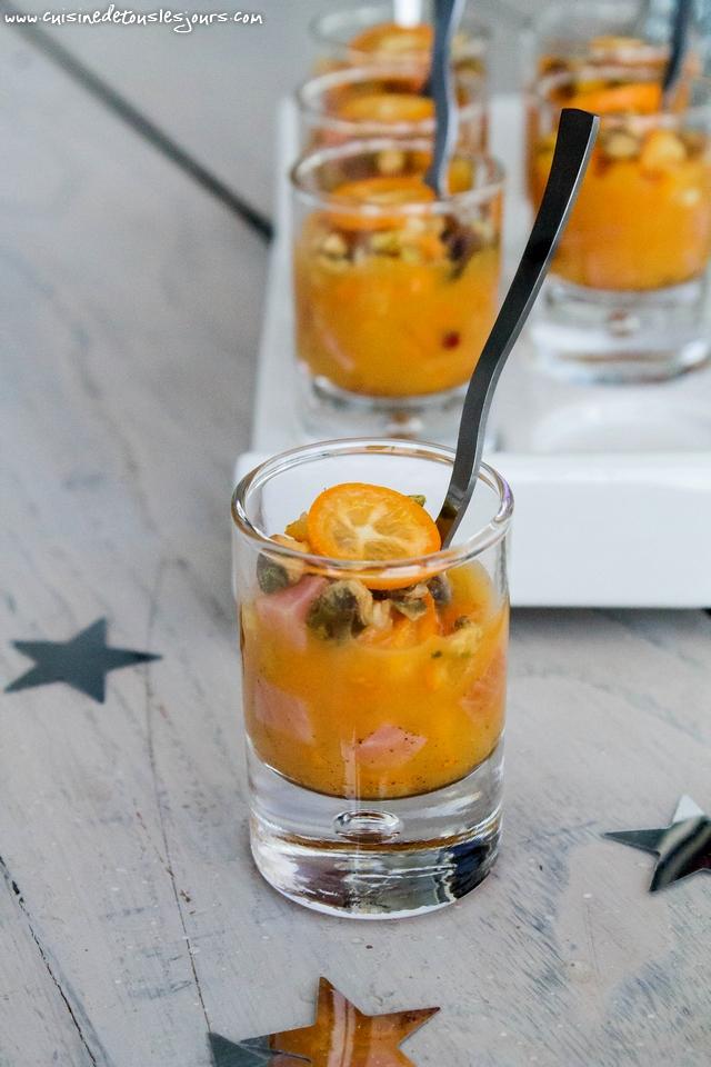 Verrines de truite fumée aux kumquat et épices – Réalisation avec les produits Guyader - ©www.cuisinedetouslesjours.com