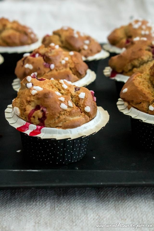 Muffins à la farine d'épeautre et aux cranberries - ©www.cuisinedetouslesjours.com