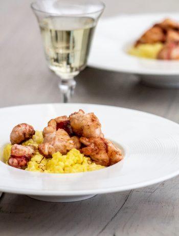 Risotto au safran et homard flambé - ©www.cuisinedetouslesjours.com