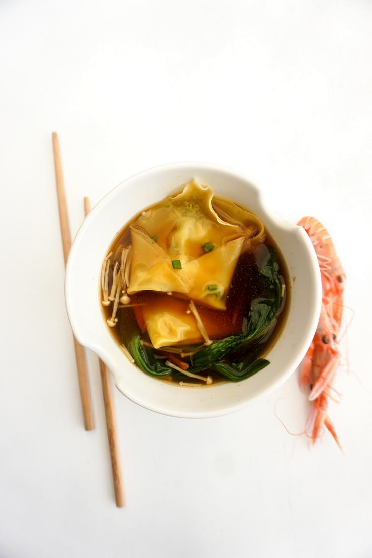 Soupe de Won Ton aux langoustines - ©www.cuisinedetouslesjours.com