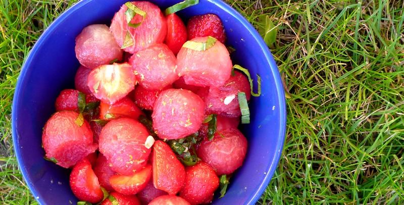 Salade de pastèque, fraises et menthe