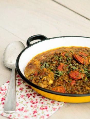 Sauté d'agneau au chorizo et lentilles ©www.cuisinedetouslesjours.com