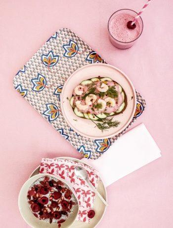Repas rose pour Centre commercial Colombia, Rennes - ©www.cuisinedetouslesjours.com